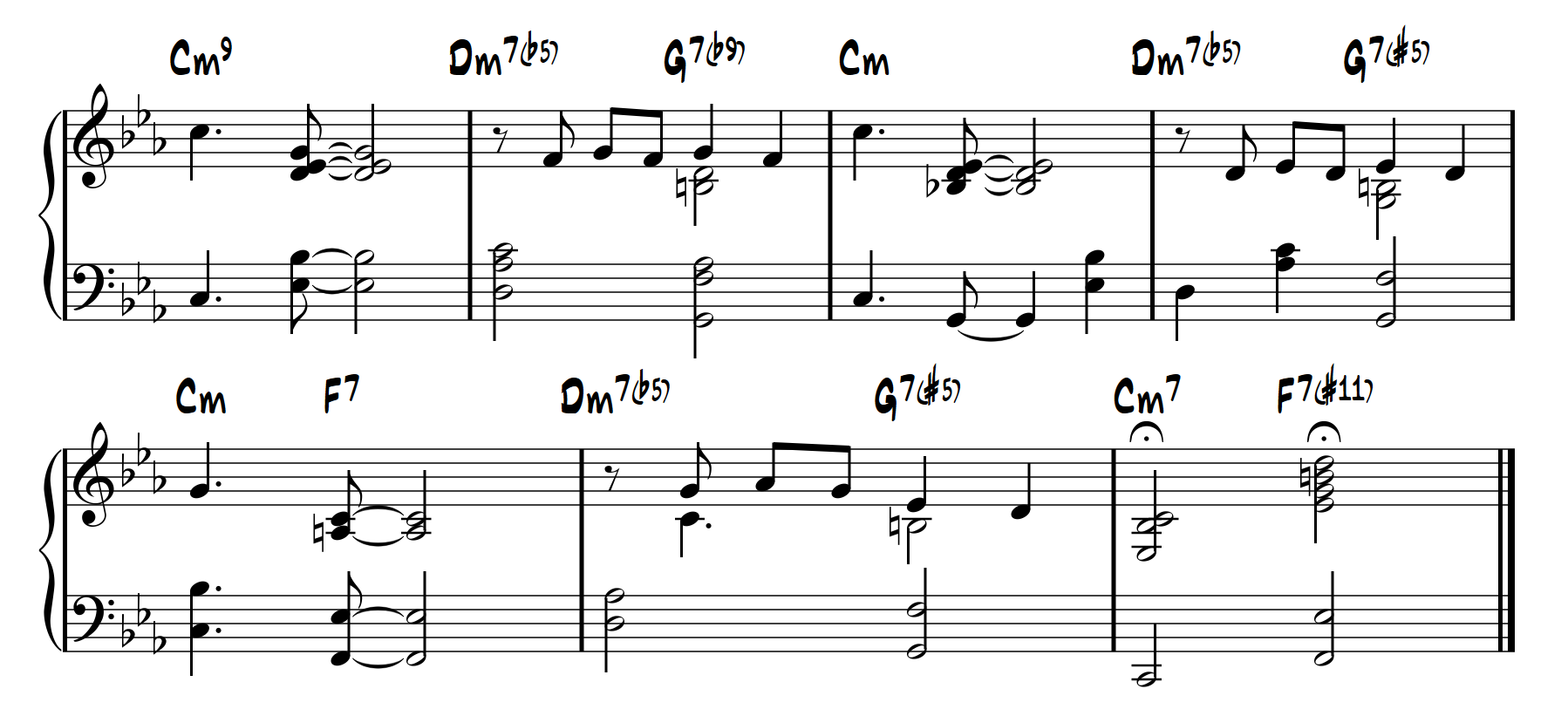 LearnJazzPiano.com - Softly as in a morning sunrise, lesson figure 7
